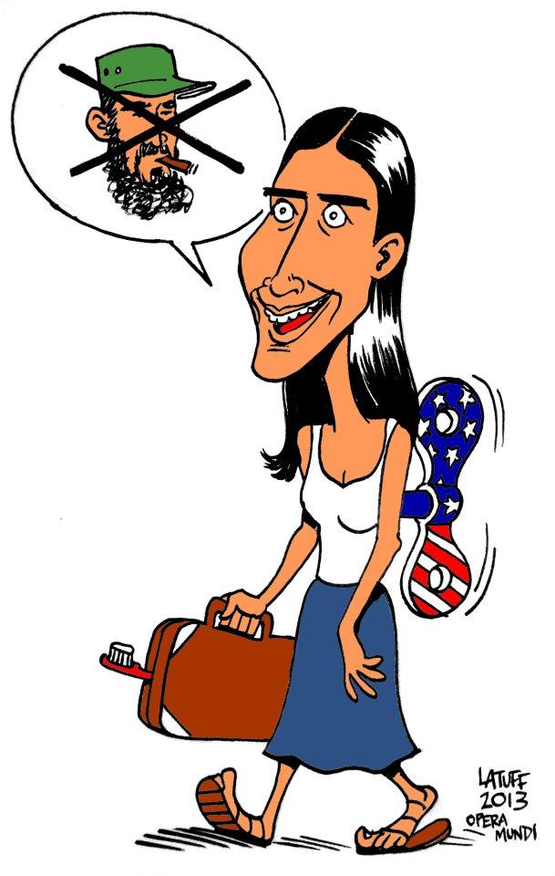El célebre caricaturista brasileño Carlos Latuff dedicó varias de sus obras a criticar la visita de Yoani Sánchez.