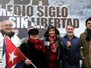 Dirigentes del Partido Popular en una manifestación a favor de la disidencia cubana