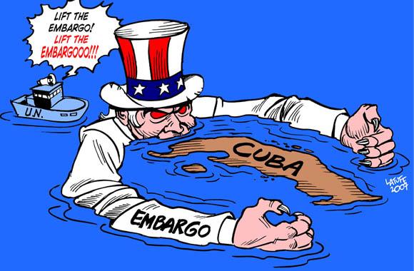 Resultado de imagen para imagene de contra el bloqueo a cuba