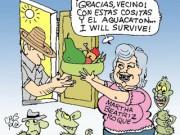 """Martha Beatriz Roque protagonizaría la huelga de hambre que llevó por nombre """"La huelga del aguacate"""", al ser descubierta alimentándose. Caricatura tomada de La Chispa prendida"""